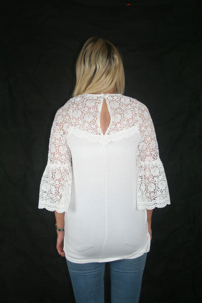 white lace yoke top touche