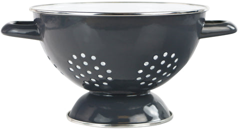 1.5 Qt Two Toned Enamel Colander, Gray