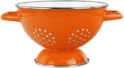 1.5 Qt Two Toned Enamel Colander, Orange