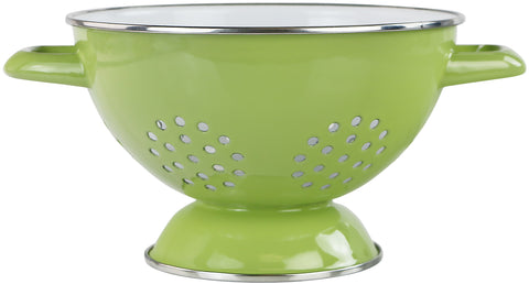 1.5 Qt Two Toned Enamel Colander, Lime