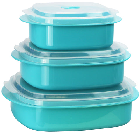 Microwave Cookware & Storage Set, Turquoise