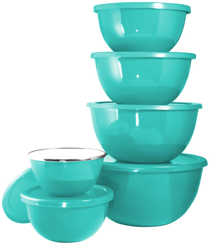 12pc Enamel on Steel Bowl Set, Turquoise