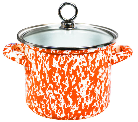 1.5 Qt Stock Pot with Glass Lid, Orange Marble