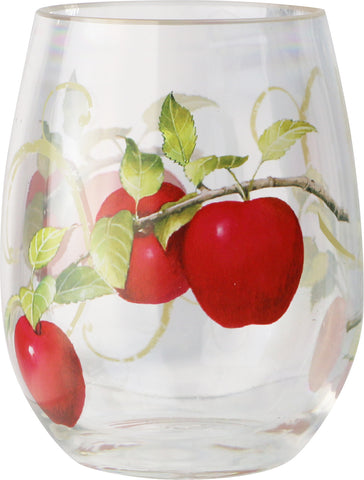 16oz Acrylic Stemless Wine Glass, Harvest Apple, Set of 4