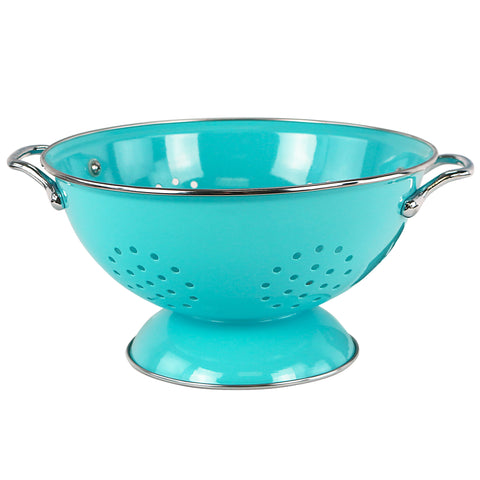 Powder Coated Colanders, Turquoise