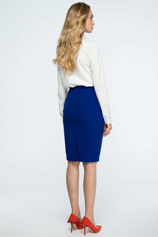 Royal Blue Pencil Skirt With Figure Skimming Front Seams