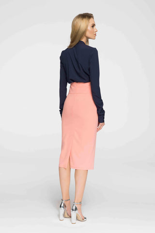 Salmon Pink High Waist Midi Skirt With Buttons