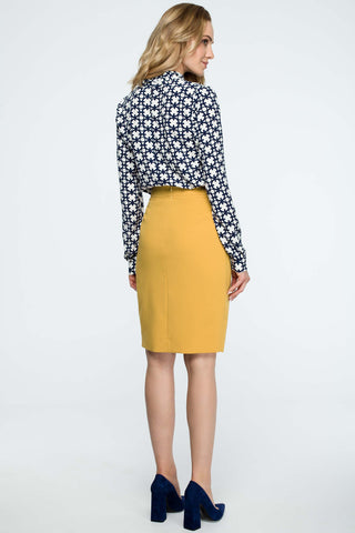 Yellow Pencil Skirt With A Wrap