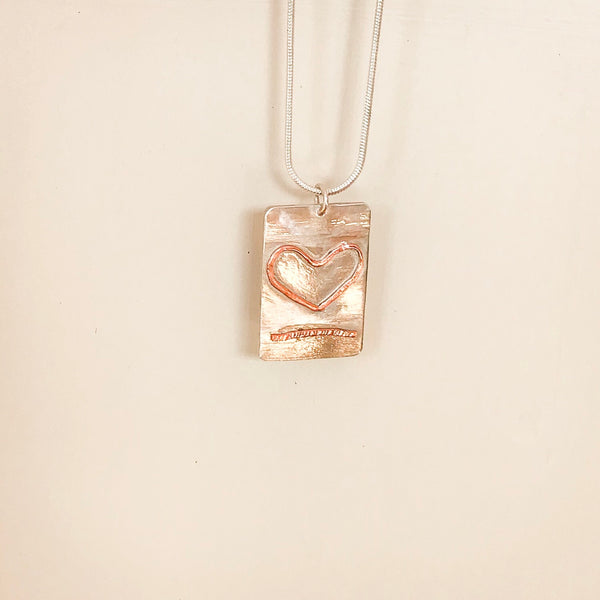 Sterling Silver Heart Pendant. Copper Heart