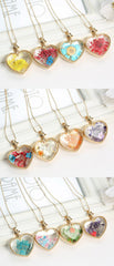 Dry Flower Heart Crystal Glass Pendant Necklace - 10 ORNATE DESIGNS
