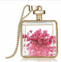 ELEGANT Dried Flower Glass Square Pendant Necklace