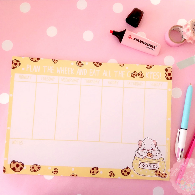"""Plan the wheek and eat all the cookies"" A4 Cookie Guinea Pig Desk Planner Note Pad Journal"