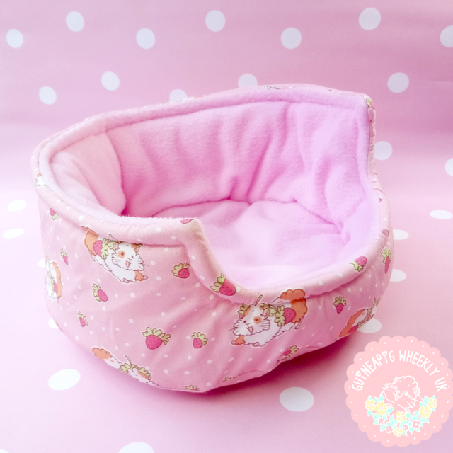 *New back in store* Strawberry Cuddle Cup Guinea Pig Bed