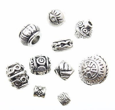 AVBeads Beads Metal Mixed Silver Spacer 100pcs 2mm - 10mm