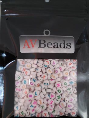 AVBeads Acrylic Beads Spacer Alphabet Letter Beads 7mm Multi-Color Letter on White 2oz approx. 400pcs