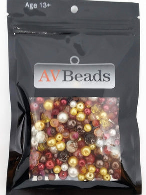AVBeads Bulk Beads Mixed Beads Glass Beads 5oz Red, White, Brown, Yellow