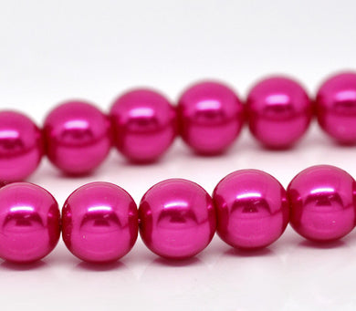 Beads Glass Strand 10mm Pearl Fuchsia 16