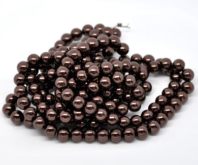 Glass Beads Round Coffee Color Plated approx. 10mm (3/8