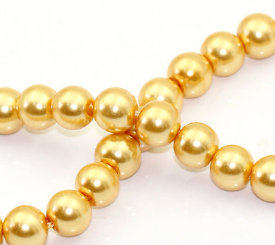 Beads Glass Strand 10mm Pearl Gold Champagne 16