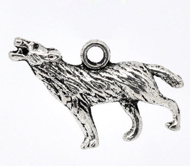 AVBeads Animal Charms Wolf Charms 3D 26mm x 16mm Silver Metal Alloy 4pcs