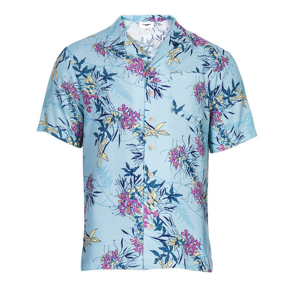 Blue Floral Resort and Sport Shirt