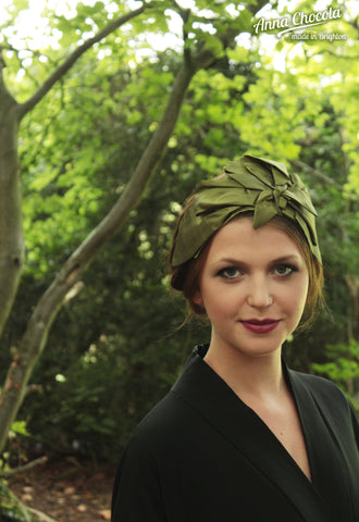 "Olive Green Taffeta ""Origami"" Headpiece"