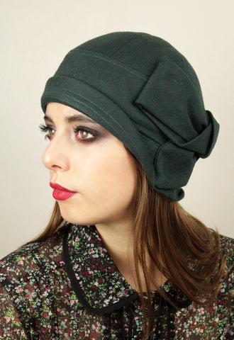 "Bottle Green Wool ""Sasha"" Cloche Hat"