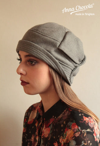 "Grey Wool ""Sasha"" Cloche Hat"