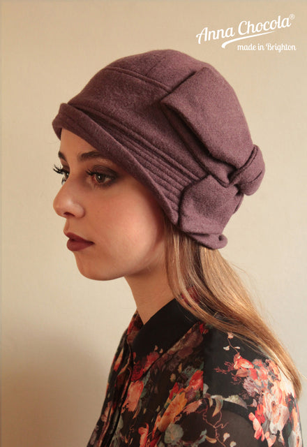 "Mauve Wool ""Sasha"" Cloche Hat"