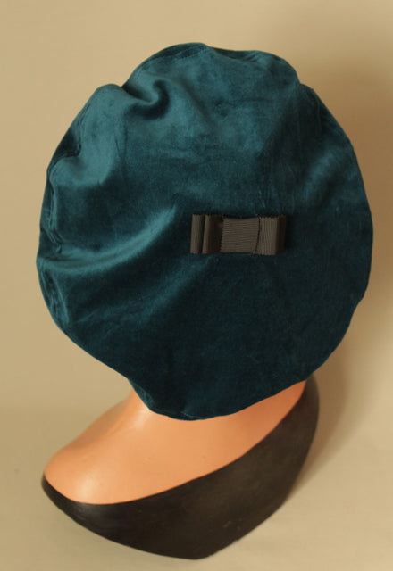 Teal 1930s Beret with Black Bow