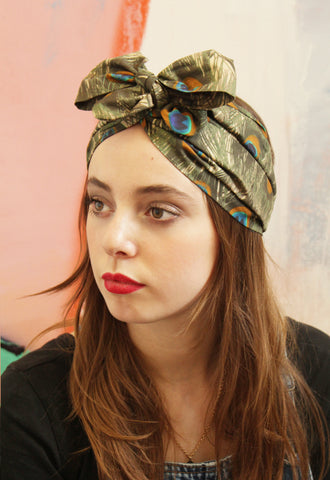 Peacock Feather Bow Turban Headband