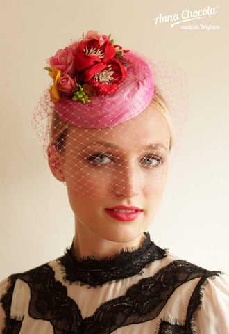 "Pink and Red Handmade Silk Flowers ""Coquette"" Pillbox"