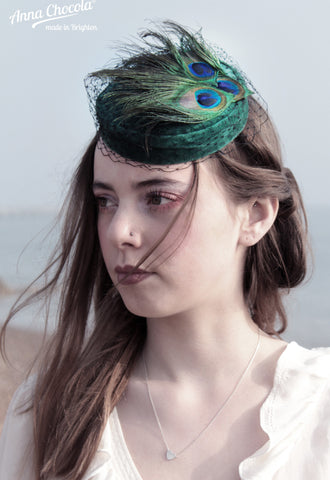 "Green velvet ""Coquette"" Pillbox hat with peacock feathers"