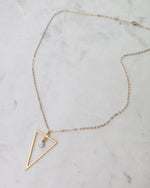 CZ TRIANGLE NECKLACE- 14k Yellow Gold