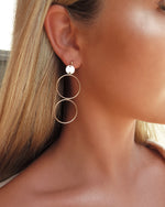 LARGE DOUBLE CIRCLE EARRINGS- 14k Yellow Gold
