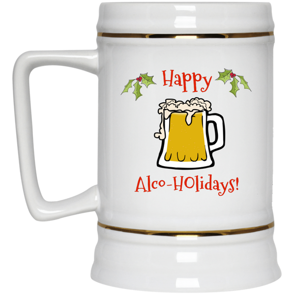 Happy Alco-Holidays Beer Stein 22oz.