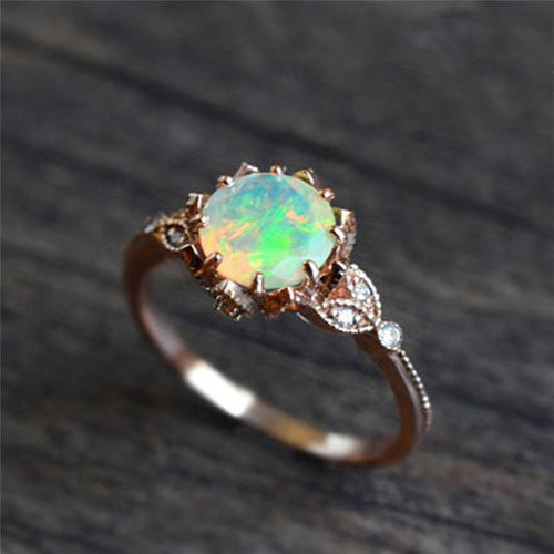 Floral Vintage Rose Gold Zircon Ring - Swag Factory