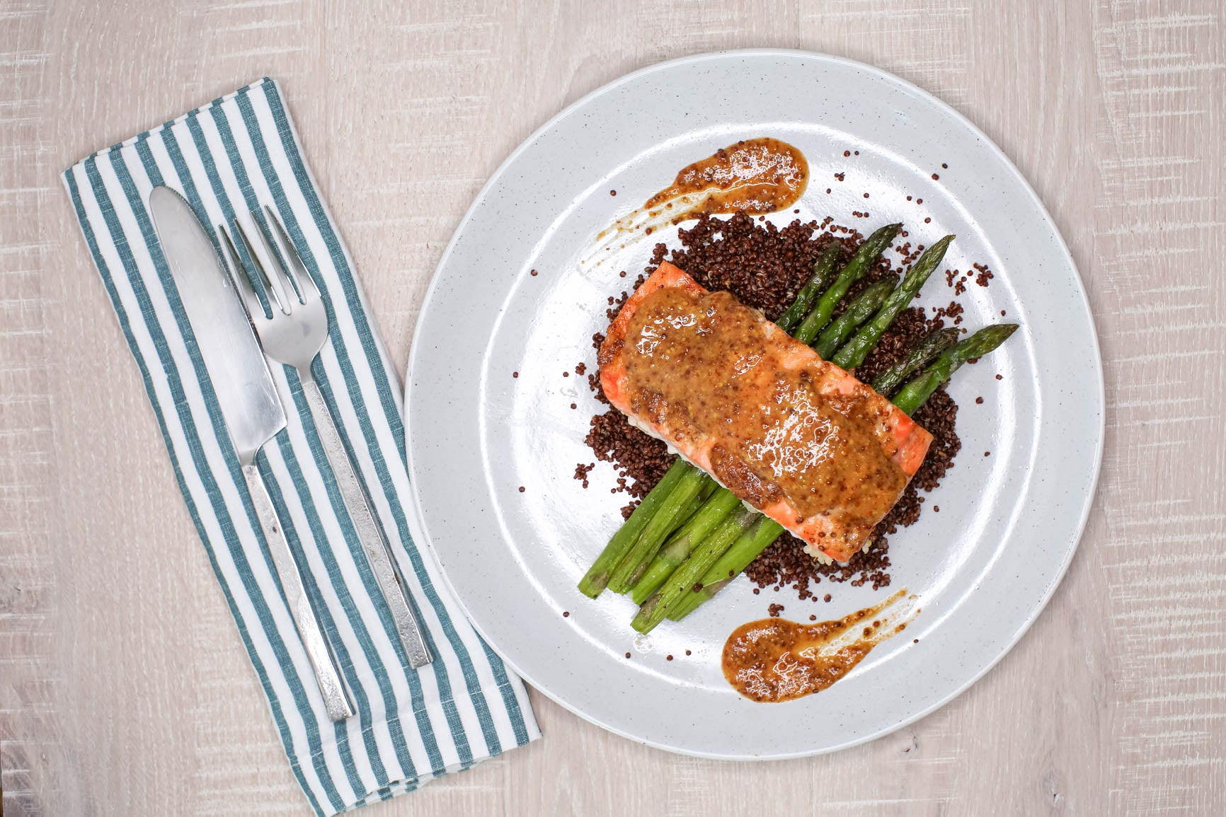 Honey Mustard Salmon w/ Quinoa & Asparagus