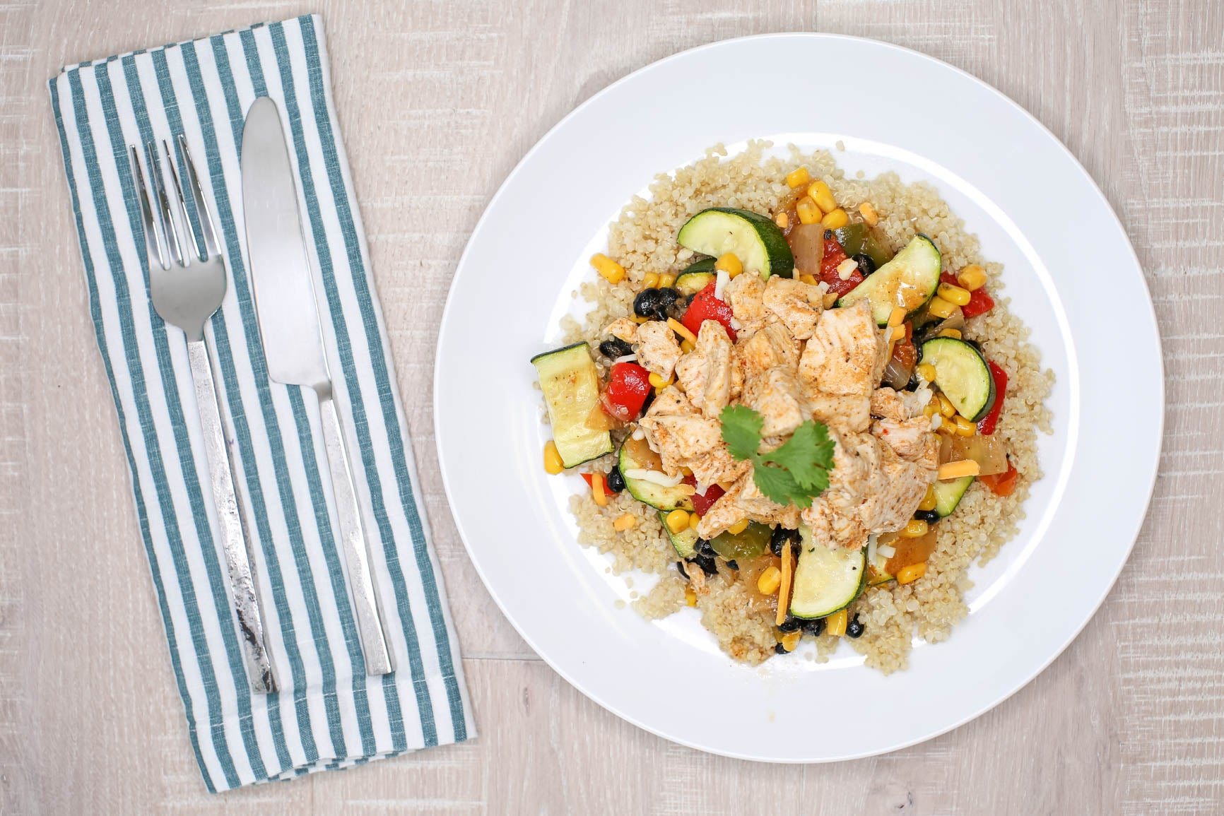 Tex Mex Zucchini & Chicken w/ Lime Quinoa