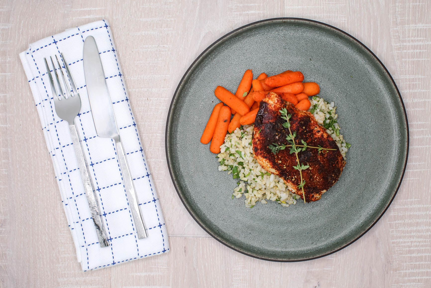 Blackened Chicken w/ Herbed Rice and Roasted Baby Carrots