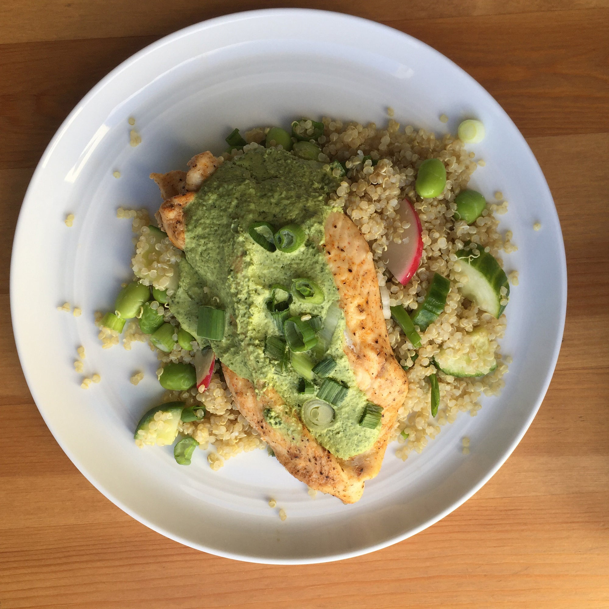 Roasted Chicken w/ Green Tahini Sauce over Cauliflower Rice (Low Carb)