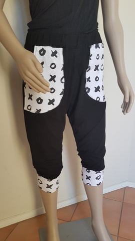 3/4  X & O  Pants - Black & White