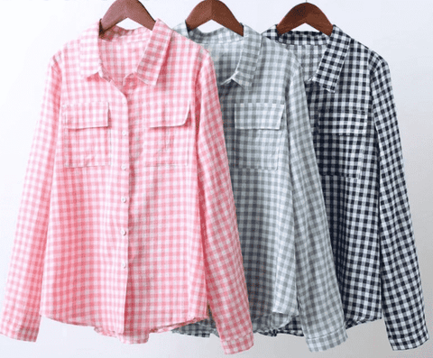 Pink Plaid Blouse Cotton Long Sleeve Top