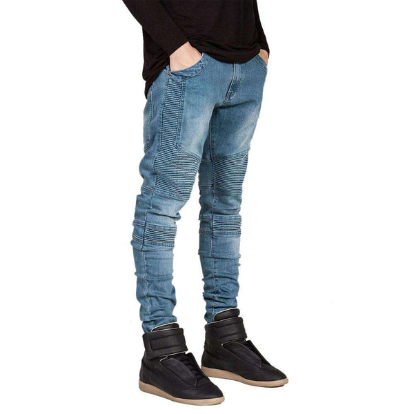 Men Straight Slim Fit Biker Jeans Pant