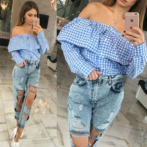 Casual Women Cute Off Shoulder Plaid Print Blousas Long Sleeve