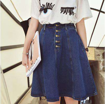 A-Line Front Button Knee-Length Denim Skirts