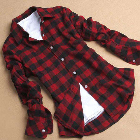 Cotton Flannel Plaid Shirt  Student Women's Long Sleeve Plus