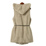 Winter Fur Vest Women Vest Hoodie Faux Lamb Fur Long Vest