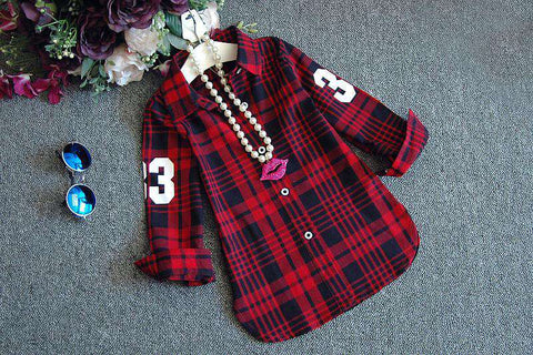 Casual Long Sleeves Plaid Shirt Blouse