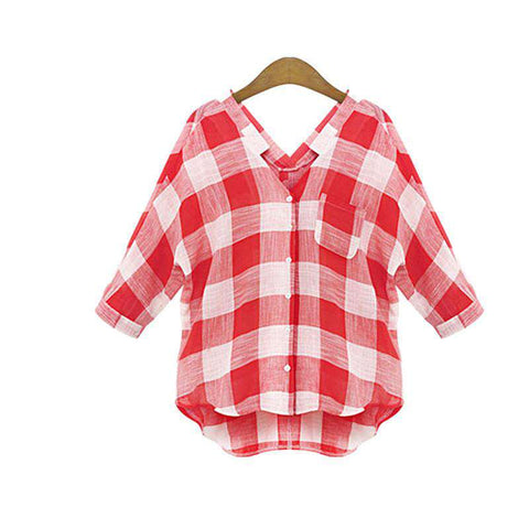 large size women ladies street casual long-sleeved  plaid blouse casual style
